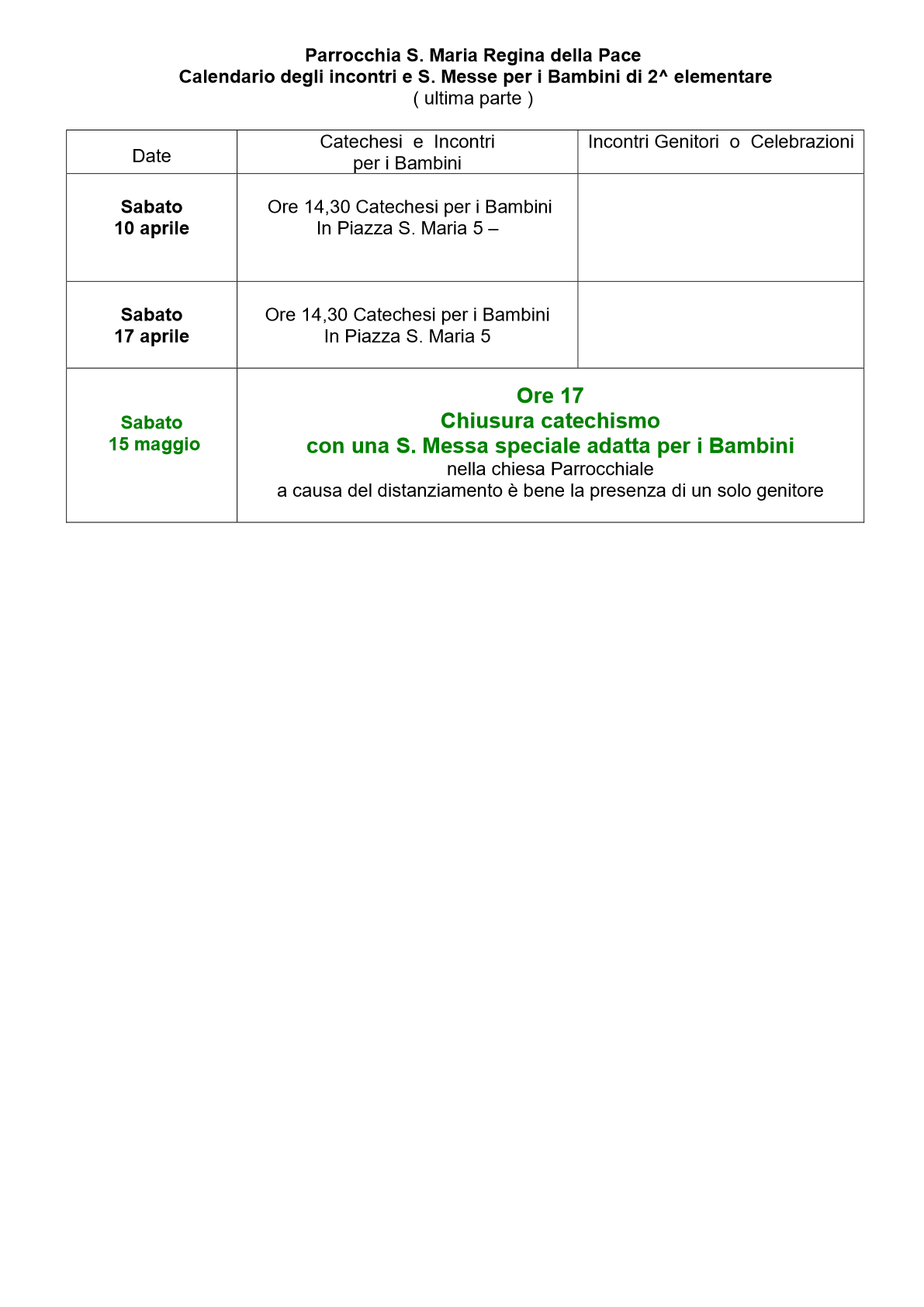 Calendario Catechismo 2 Elementare Nuvo