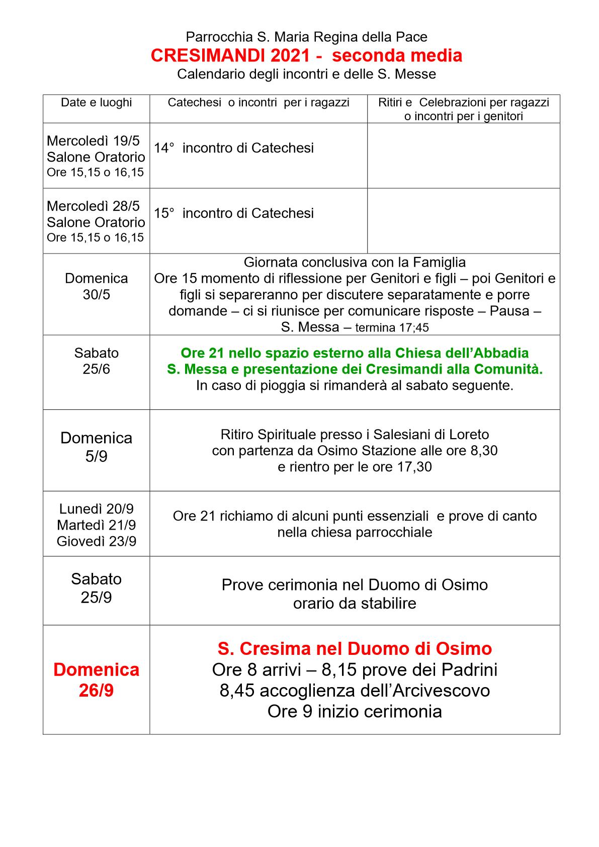 Calendario Catechismo 2 Media Nuvo