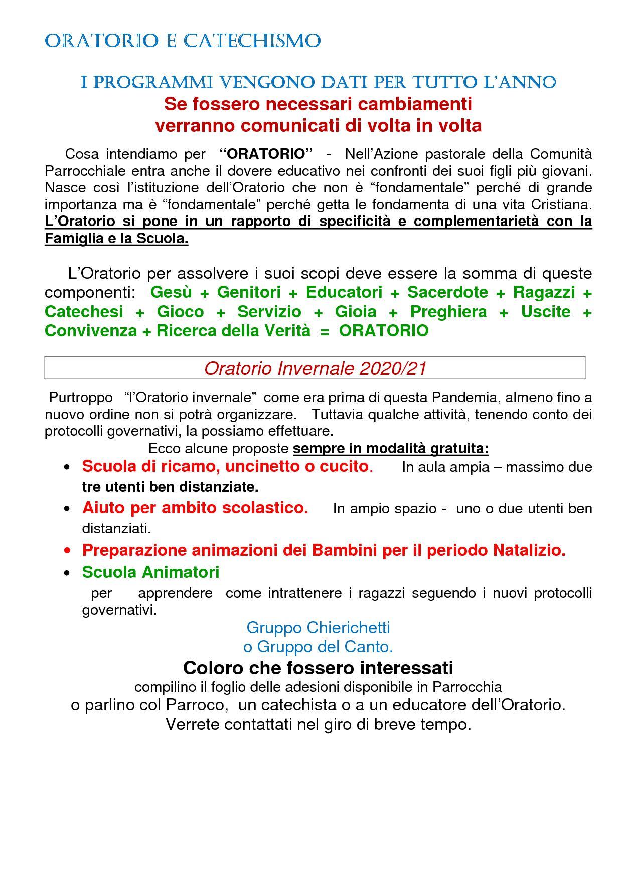 Oratorio - Catechismo Ott 20 bis1