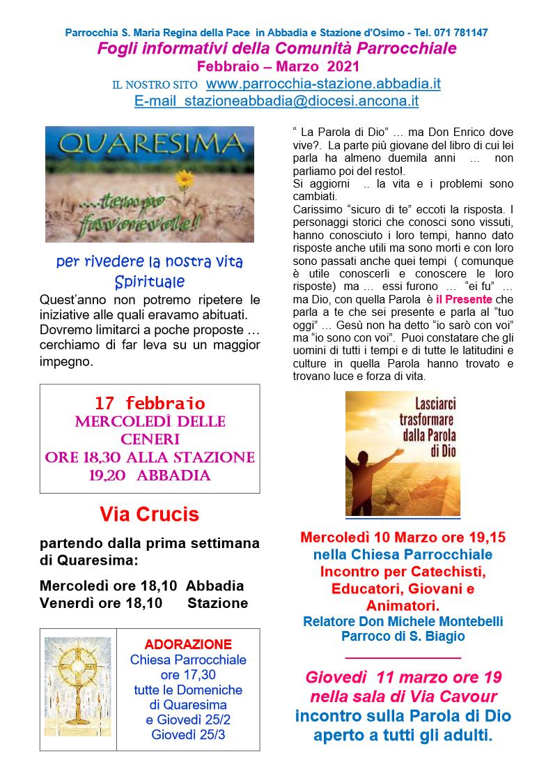 Fogli Informativi Febbraio - Marzo 2021
